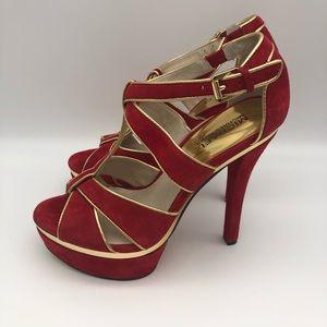 Michael Kors Red Snd Gold Platform stiletto Heels